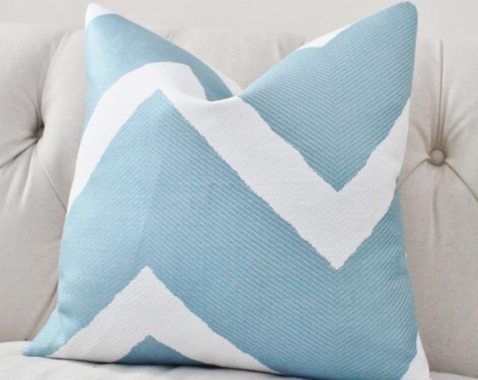 "Sale 35.00 18"" or 20""  -Designer Blue Pillow Cover - Blue White Geometric Zig Zag - Throw - Decorative Chevron -Modern Light Blue Pillow"