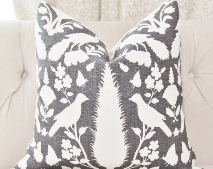 Schumacher Chenonceau Pillow Cover - Charcoal Pillow Cover - Garden and Bird Landscape - Black Home Decor - Charcoal Gray Pillow Cover