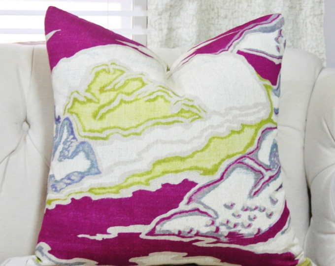 Burgundy Wine Chartreuse Blue and Gray - Scenic Pillow Cover - Motif Pillows