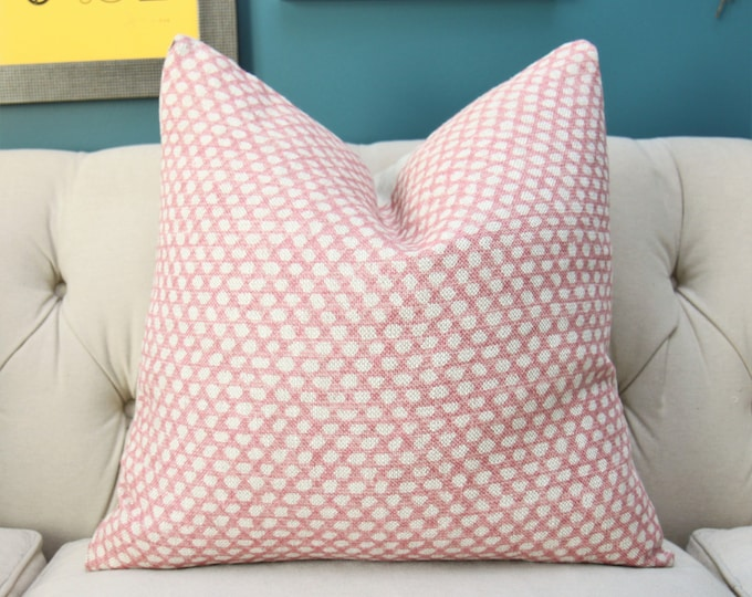 Blush Pink and Natural Printed Geometric Pillow Cover - Designer Block Print Pillow Cover - Pink and Neutral Home Decor - Light Pink