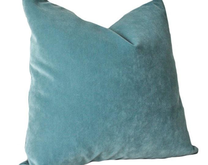 Designer Decorative Aqua Blue Pillow Cover - Blue Green Velvet Pillow Cover - Ocean Blue Pillow - Throw Pillow - Teal Pillow