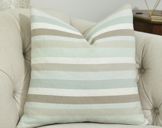 Sale - 35.00 Aqua Green Gray Ivory and Beige Stripped Pillow Cover - Zimmer & Rohde Pillow Cover - Designer Stripe Pillow