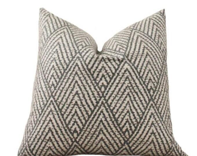 Black Tan Gray Beige Geometric Pillow Cover - Black Tan Chevron Pillow - Grey Pillow Cover -Throw Pillow