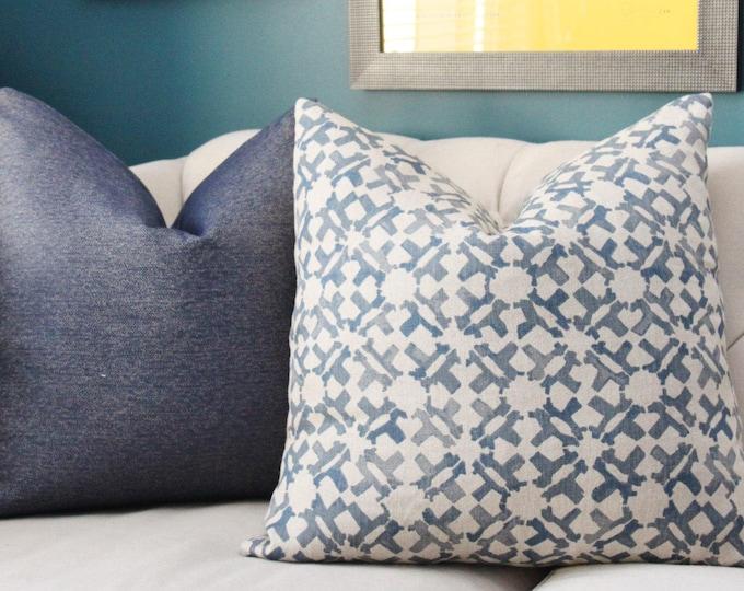Peter Dunham Pillow - Orcha Indigo Pillow Cover - Blue Natural Geometric Linen - Designer Blue - Motif Pillows