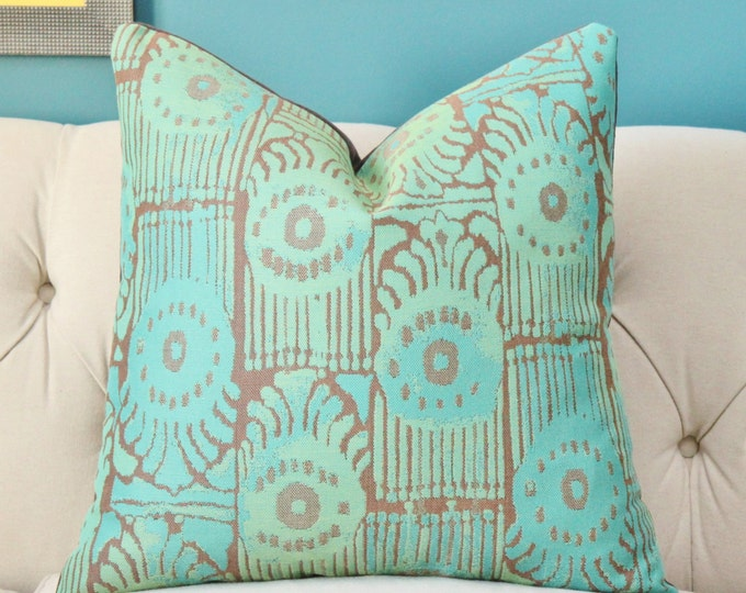 "Sale 35.00 - 22"" Single Sided - Perennials Suzani Ikat Pillow Cover - Modern Teal Peacock Green and Brown - Indoor Outdoor - Summer Pillow"