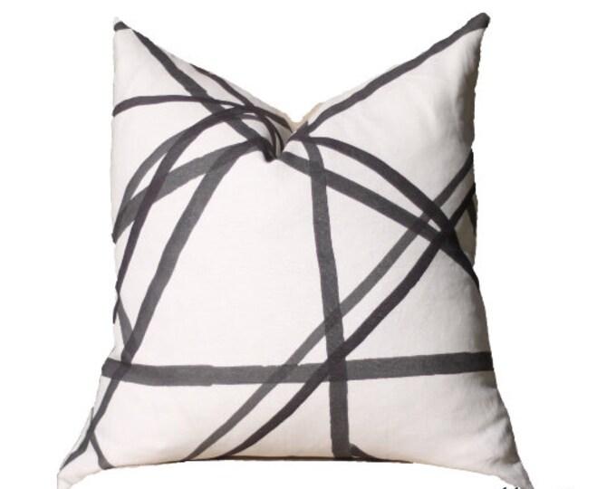 Kelly Wearstler Channels Pillow Cover - Black and Off White - Black Pillow - Designer Geometric Pillow Cover