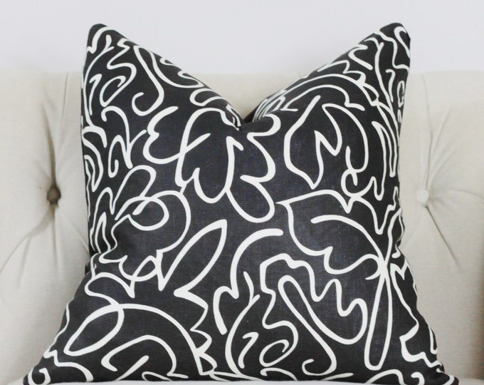 "Ready to Ship - SALE - 22"" Black & White Geometric Pillow Cover - Black Designe Scalamandre Palm - Palm Beach Home Decor - Hollywood Regency"