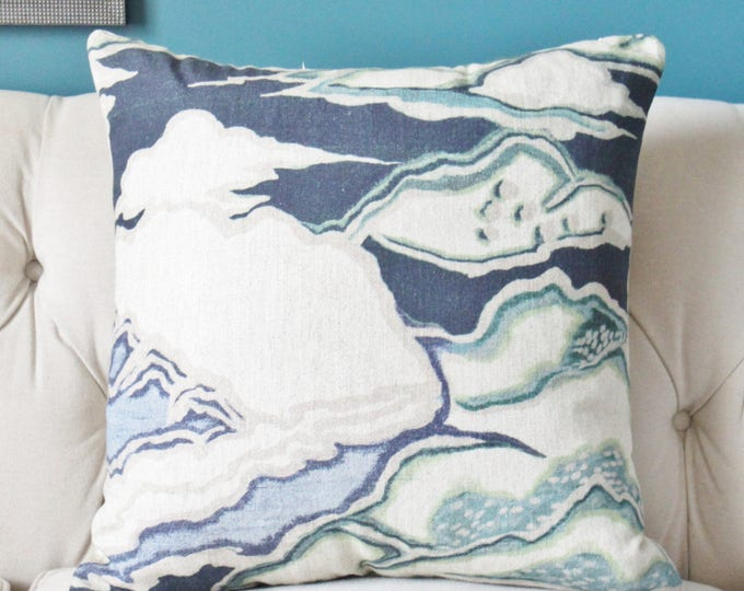 Blue Beige and Aqua - Scenic Pillow Cover  -  Modern Navy Blue Home Decor - Motif Pillows