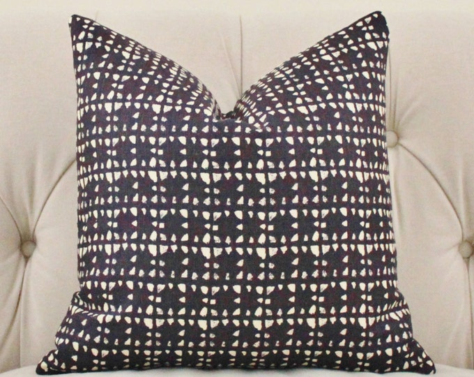Bohemian Pillow - Nate Berkus Pillow Cover - Black Geometric Pillow - Black and Creme Block Print Modern Pillow Cover - Black Home Decor