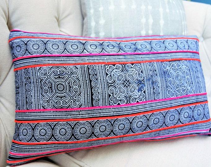 Sale - 25.00 Hmong Pillow Cover - Indigo Blue White - Boho Pillow Cover - Tribal Global - Bohemian Decor - Pink & Orange Embellished Pillow