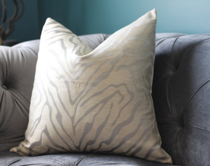 Sale 35.00 Animal Print Pillow Cover - Silver and Gold Throw Pillow - Gold and Light Gray - Neutral Cover - Motif Pillows - Leopard