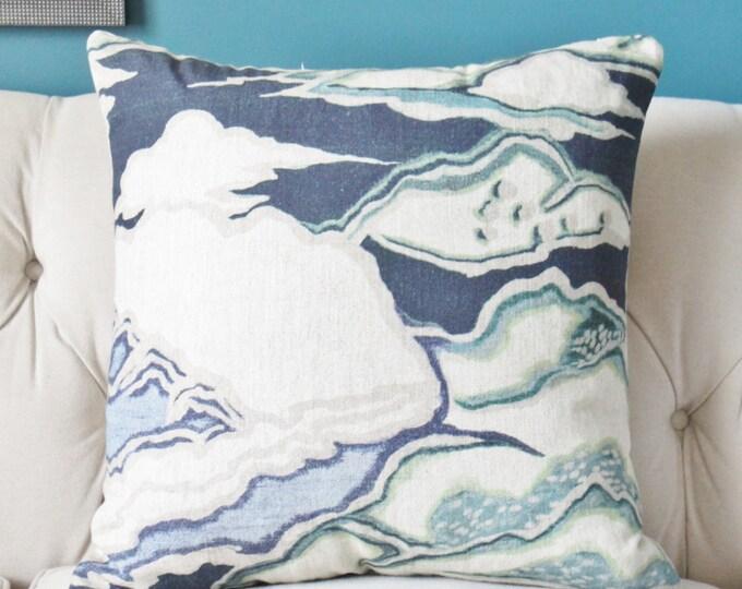 Blue Beige and Aqua - Scenic Pillow Cover  -  Modern Navy Blue Home Decor - Motif Pillows
