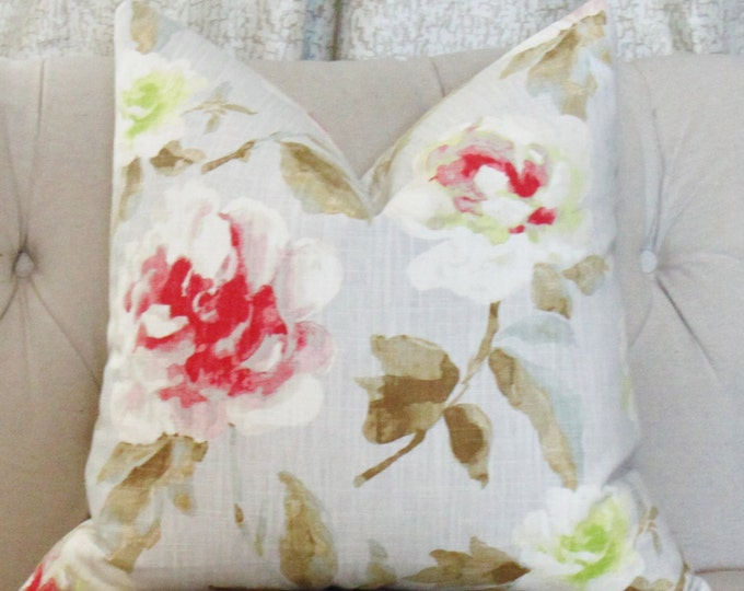 "SALE 35.00 18"" or 20"" - Modern Floral Pillow - Pink Gray Yellow Pillow - Throw Pillow"