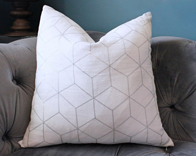 Schumacher Designer Metallic Pillow Cover - Silver Neutral Pillow - Graphic Pillow Cover - White Grey  Pillow Cover