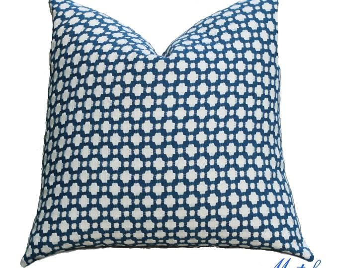 Schumacher Pillow Cover - Betwixt in Indigo - Dark Blue and Off White Pillow Cover - Designer Pillow - Blue Throw Pillow - Toss Pillow Cover