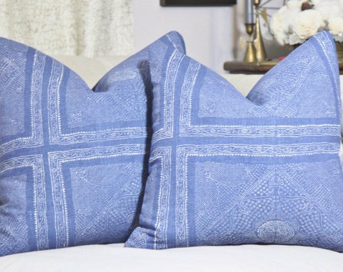 Bohemian Pillow - Blue Moroccan Pillow - Raoul Textiles Pillow - Chunari Blue Willow Linen Cover - Blue Pillow - Indigo Pillow - Blue Decor