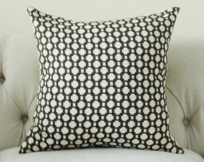 Schumacher - Betwixt - Charcoal Gray Pillow - Charcoal Grey Designer Pillow - Charcoal Ivory - Throw Pillow - Designer Pillow