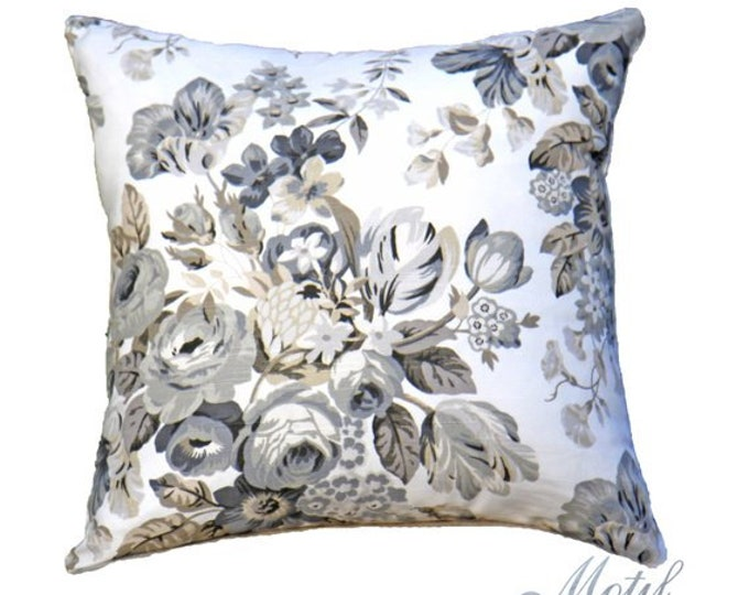 SALE - Floral Pillow Cover - Black Floral Pillow - Grey & Ivory Pillow Cover - Designer Throw Pillow - Motif Pillow