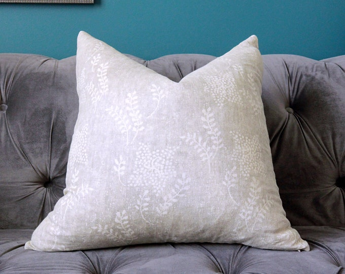 Rose Tarlow Aida in Sterling - Grey Linen Pillow Cover - Floral