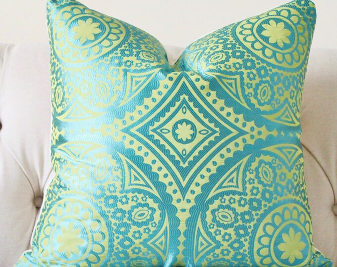 Sale - 35.00 Designer Turquoise Pillow -Blue Green Geometric Suzani Pillow Cover - Decorative Throw Pillow - Teal Pillow - Moroccan Pillow