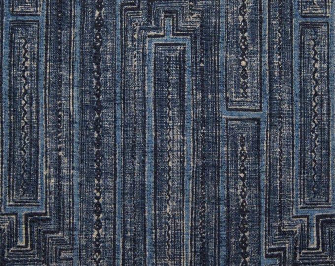 Blue Pillow Cover - Modern Indigo Blue Maze Pillow Cover- Blue Linen Pillow Cover - Motif Pillows - Dark Blue Decor