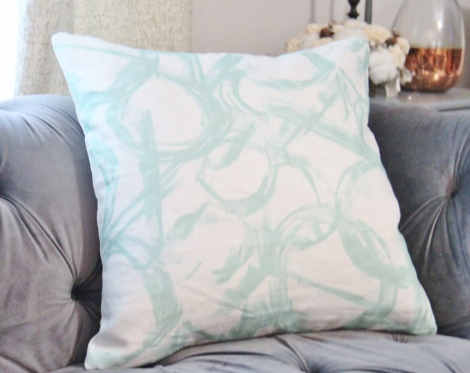Sale 25.00 - Aqua Brush Strokes Pillow Cover - Contemporary Modern Painted Pillow Cover - Aqua & White - Brush Stroked Linen Pillow Cover
