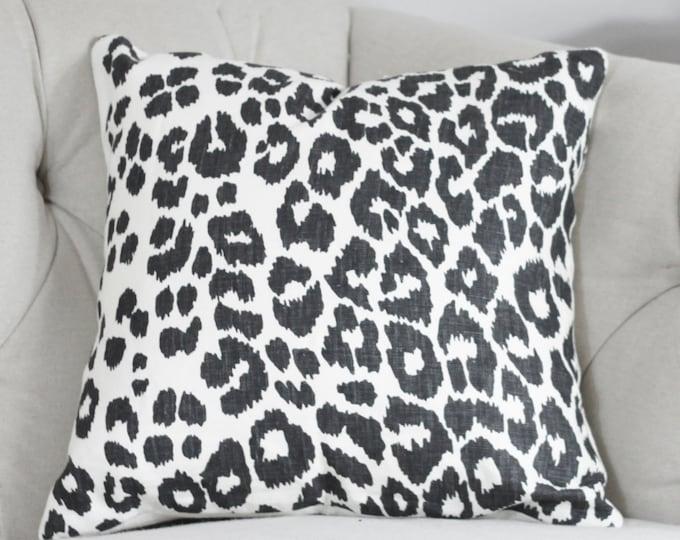Schumacher Iconic Leopard in Graphite Designer Pillow Cover - Black and White Animal Print Linen Pillow Cover - Decorative Leopard Pillow