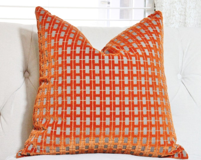 Ready to Ship Geometric Orange Pillow Cover - Orange Velvet Halcyon Geometric - Orange Designer - Jim Thompson Pillow - Cut Velvet Pillow