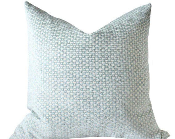 Ready to Ship - 18 x 18 Decorative Pillow Green Blue Cover - Sea Foam Water Aqua Cream Geometric - Designer Pillow  - Throw Pillow