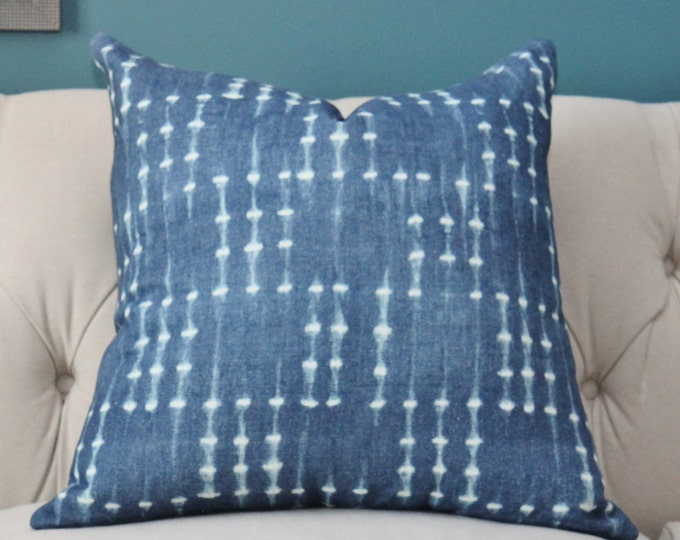 16 x 16 Blue Pillow Cover - Modern Indigo Blue Organic Cotton Shibori Pillow Cover - Motif Pillows - Tribal Textile Batik - Dark Blue Decor
