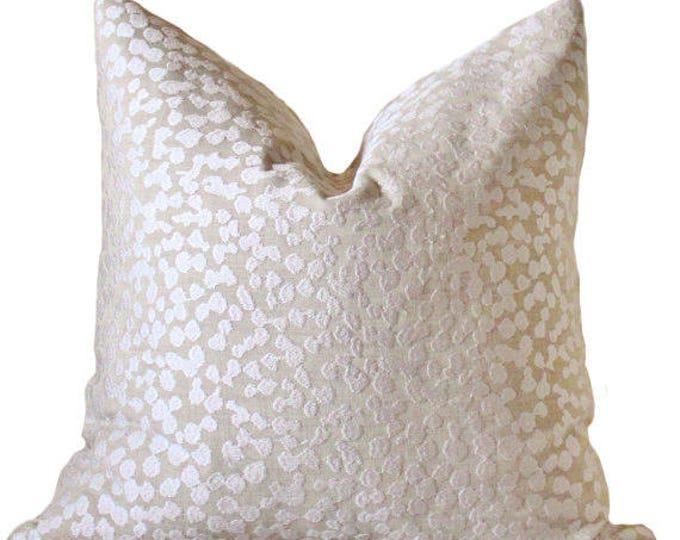 Last One - 20 x 20 Modern Sand Neutral Pillow Cover- Beige Off White Geometric - Tan Textured Linen - Beige Designer Pillow