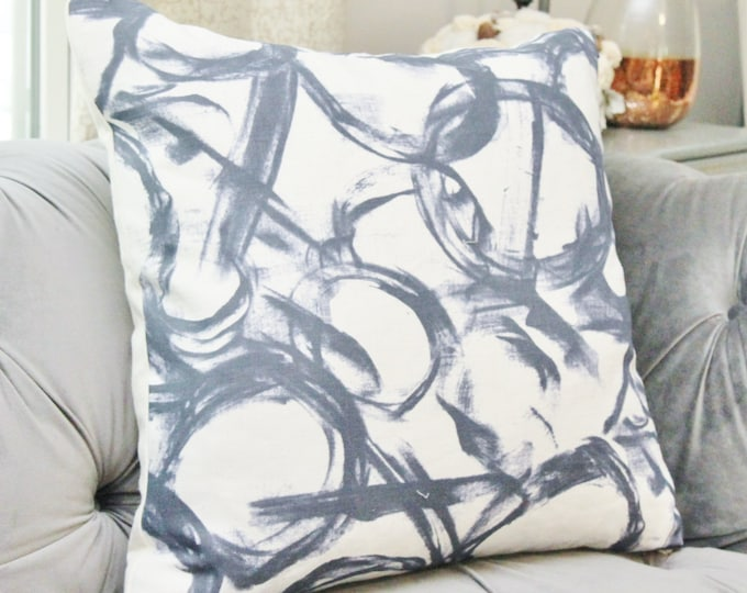 Sale 35.00 - Navy Blue Brush Strokes Pillow Cover - Watercolor Painted Pillow Cover - Dark Blue & White - Brush Stroked Linen Pillow Cover