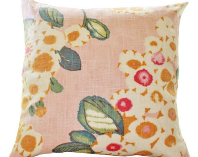 MOTIF PILLOW Decorative Pink Pillow - Floral Pink Fuchsia Ivory Teal Orange Pillow Cover - Designer Throw - Blush Pink Pillow- Motif Pillows