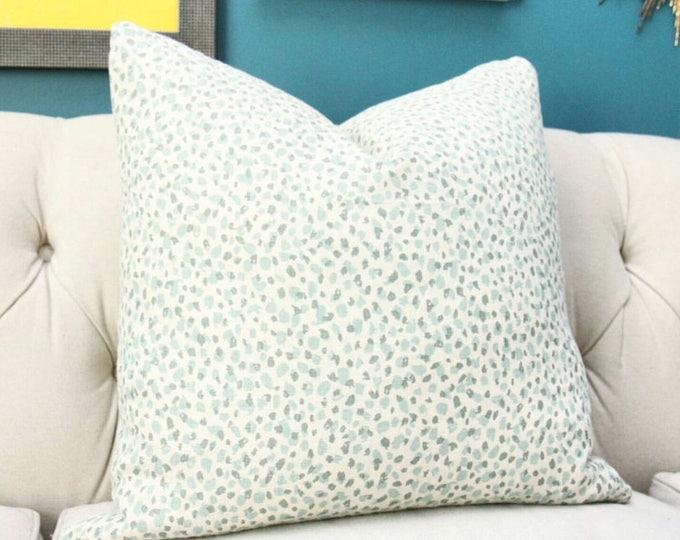 18 x 18 Green Animal Print Pillow Cover - Mineral Olive Green Leopard Print - Neutral Pillow Cover - Sea Foam Green Linen Pillow