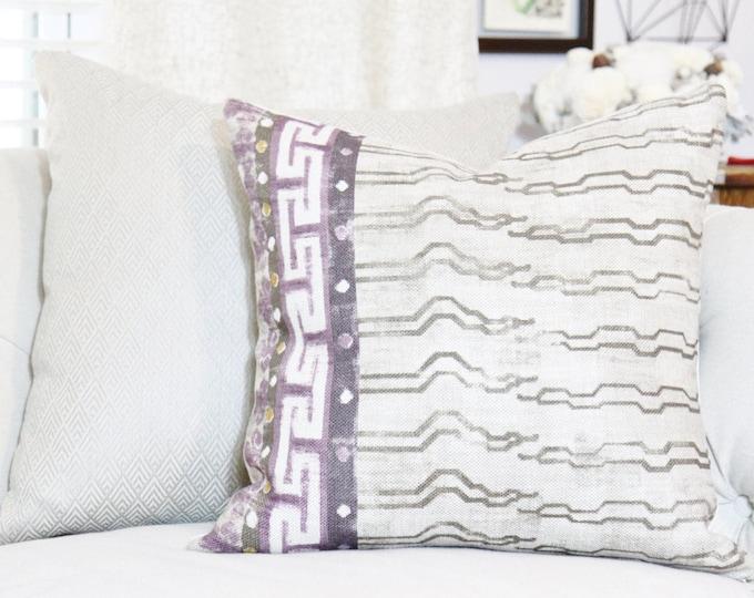 Zak & Fox Khaden - Greek Key Linen - Geometric Throw Pillow Cover - Modern Beige - Neutral Pillow - Motif Pillows