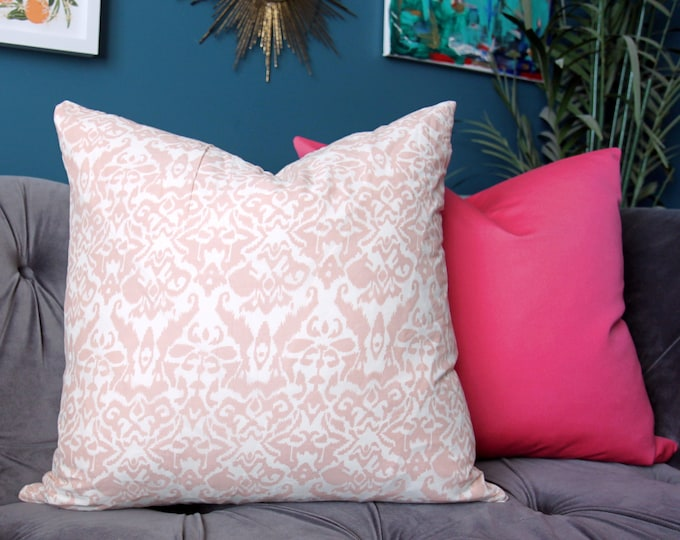 Sale 35.00 - Blush Pink White Pillow Cover - Pink Block Print Authentic Indian Block Print Fabric - Global Home Decor
