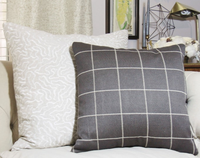 Gray Pillow- Dark Gray Pillow Cover - Charcoal Grey Check Throw Pillow - Plaid Pillow -  Gray and Ivory Designer Pillow