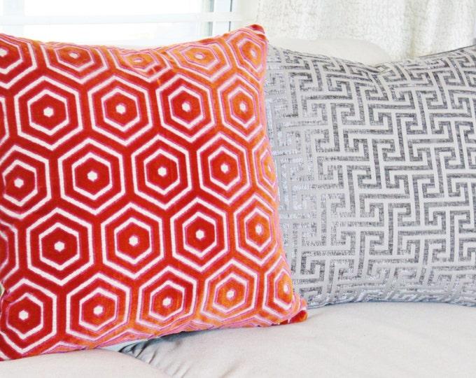Sale - Last One 25.00 Jonathan Adler Pillow Cover - Modern Red Pink Geometric Velvet - Modern Red Pillow - Throw Pillow - Pink Pillow Cover