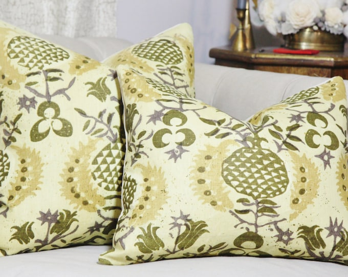 Sale 35.00 - Chartreuse Pillow Cover - Yellow Gold Purple and Olive Green - Designer Linen Pillow - Tribal Pillow - Pineapple Pillow