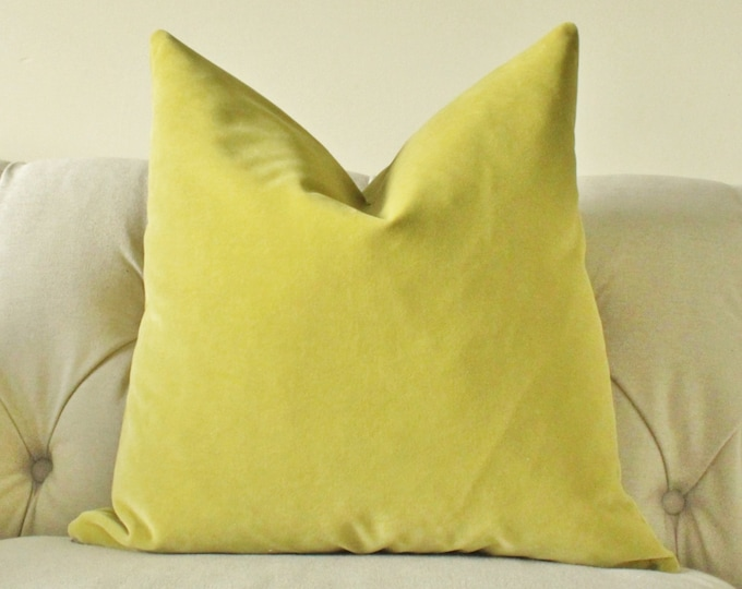 Designer Decorative Pillow Cover - Citrine Velvet Pillow Cover - Solid Lime -Throw Pillow - Citron Pillow Cover - Chartreuse Pillow Cover