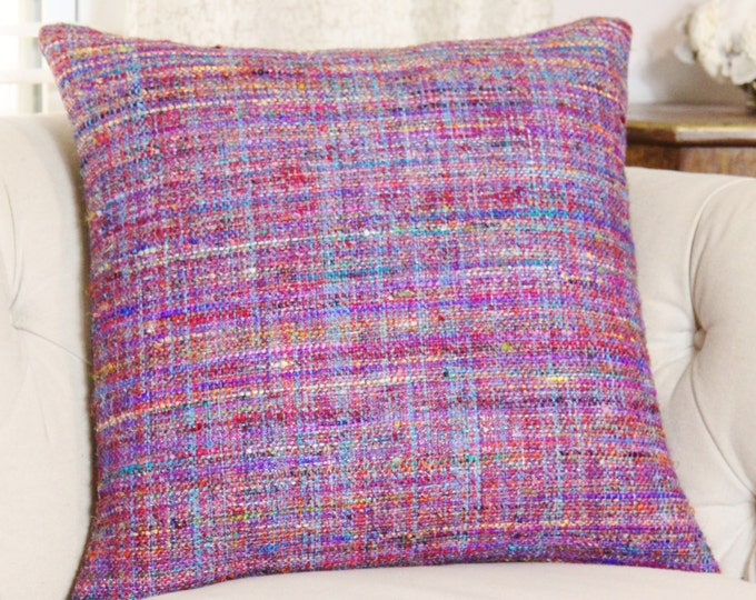 Sale - 25.00 Moroccan Pillow Cover - Blue Purple  Red Orange Teal Pink Yellow Woven -  Multi Colored Pillow - Designer Throw Pillow Cover