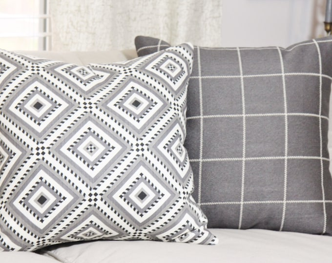 Sale - Martyn Lawrence Pillow Cover - Gray Black & White Geometric Pillow Cover - Cornelius Linen Pillow Cover - Grey Diamond Throw Pillow