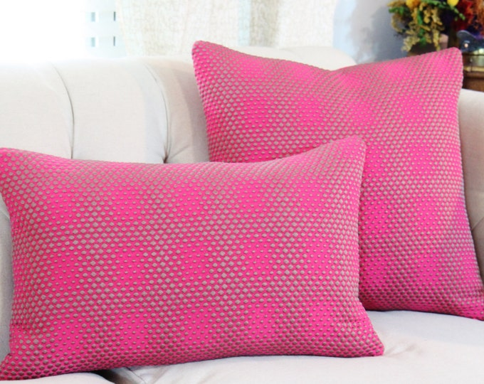 Hot Pink Pillow Cover - Raspberry Pink Platinum Gray Geometric - Fuchsia Pillow - High End Pillow Cover