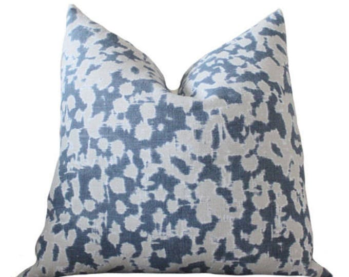 Indigo Blue Schumacher Linen Pillow Cover - Blue Geometric Scroll - Blue Grey - Rain Dance