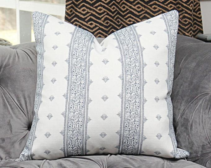 Peter Dunham Fez Blue on White Pillow Cover - Blue Stripe Linen - Designer Blue Pillow Cover - Motif Pillows