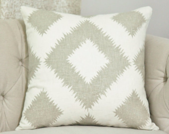 Schumacher Beige Geometric Pillow Cover - Mary McDonald - Puka Diamond - Neutral Pillow Cover - Stone & Ivory - Greige Pillow