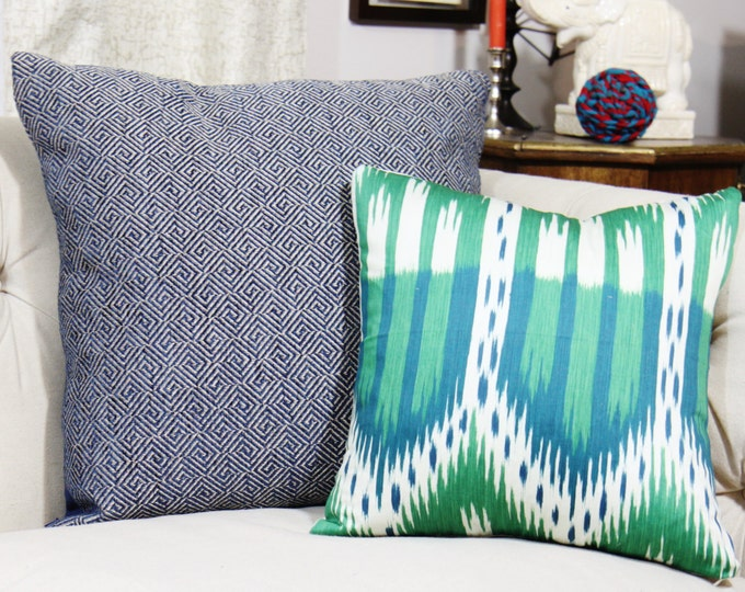 Schumacher Pillow Cover - Bukhara Ikat in Emerald & Peacock - Blue Green and Off White - Large Scale Ikat - Emerald Green - Motif Pillows