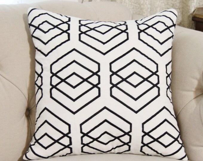 Sale - 16x16 35.00 Black and White Geometric Pillow - Graphic Black Pillow Cover - Black & White Pillow - Throw Pillow