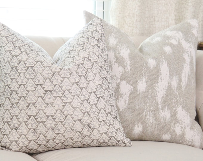 Zak & Fox La Tanrrilla Pillow in Ica - Designer Linen Pillow Cover- Gray Geometric Throw Pillow Cover- Modern Grey