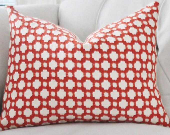 Schumacher - Betwixt  Spark Pillow - Orange Red Designer Pillow - Orange Ivory Pillow- Throw Pillow - Designer Pillow
